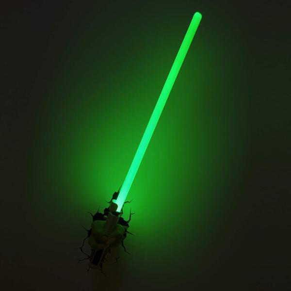 Star Wars 3D Wandlampe - Yoda Lichtschwert an - Superhelden Lampe - Wandlampe in 3D - Durch die Wand Lampe - 3D Lampe Star Wars