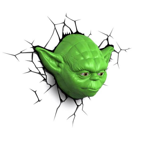 Star Wars 3D Wandlampe - Yoda - Superhelden Lampe - Wandlampe in 3D - Durch die Wand Lampe - 3D Lampe Star Wars