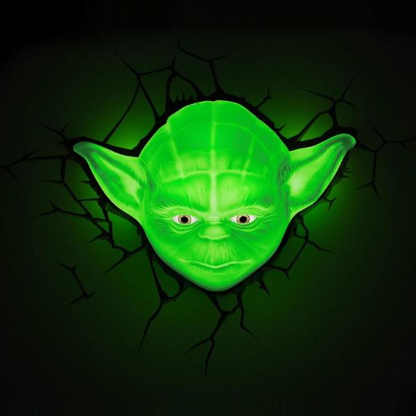 Star Wars 3D Wandlampe - Yoda an - Superhelden Lampe - Wandlampe in 3D - Durch die Wand Lampe - 3D Lampe Star Wars