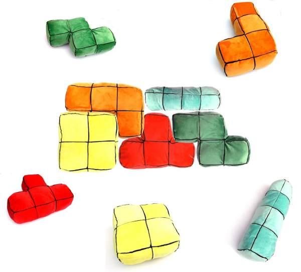 Tetris Kissen Geschenk für Gamer Tetris Stein Design