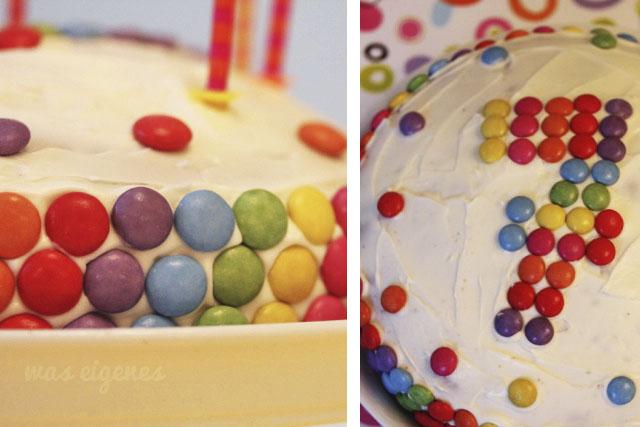 Smarties Geburtstagskuchen | Bunter Geburtstagskuchen mit Smarties dekoriert | waseigenes.com