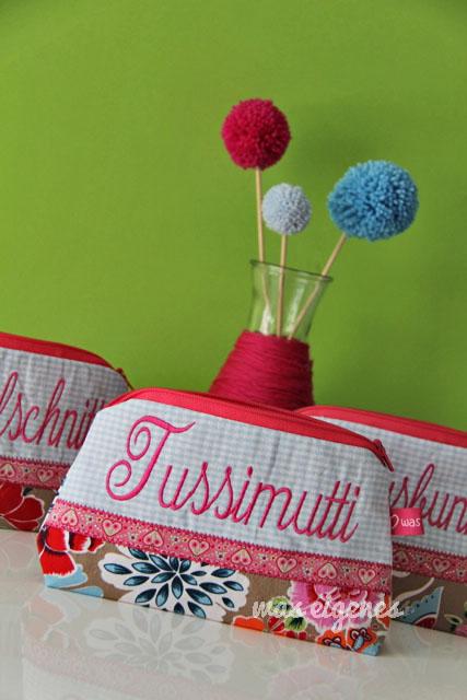 Schminktäschchen | Worttäschchen | bestickt | Luxusbunny Trödelschnitte Tussimutti | waseigenes.com Blog & Shop