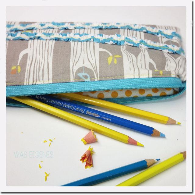 DIY Stiftemäppchen mit Rüschen nähen | Nähanleitung | waseigenes.com