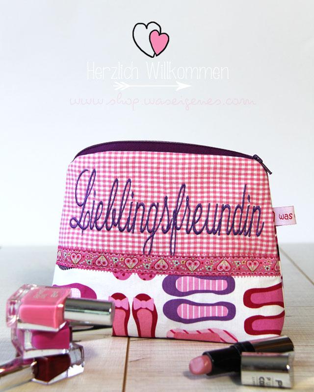 DIY Schminktäschchen | Bestickt mit Lieblingsfreundin | waseigenes.com DIY Blog & Dawanda Shop