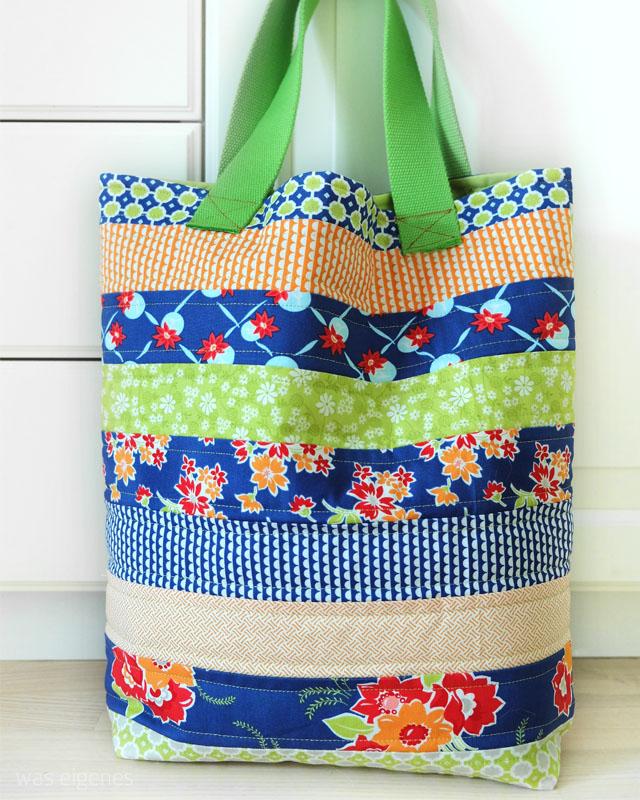Nähanleitung: Einkaufstasche (Eine Jelly Roll - 3 Taschen).