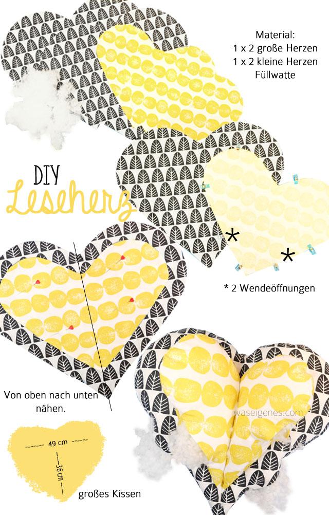 DIY Leseherz Kissen Naehanleitung | waseigenes.com