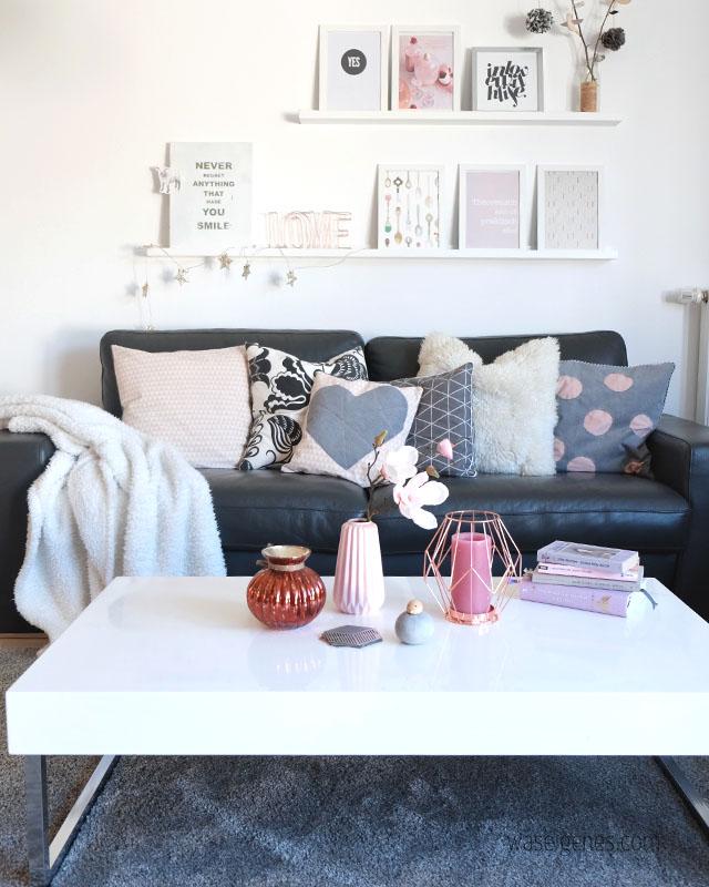 unser wohnzimmer mit neuen farbtupfern rosa statt gelb. Black Bedroom Furniture Sets. Home Design Ideas