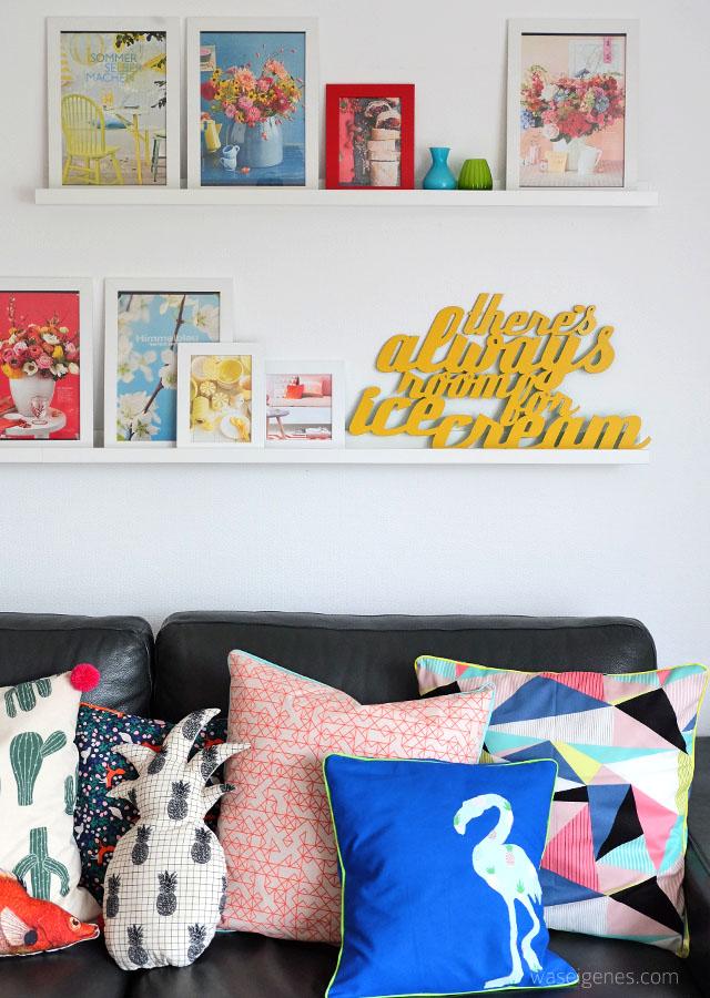 Wohnzimmer makeover | selbst genaehte Kissenbezuege | neue Couchtische | waseigenes.com 12