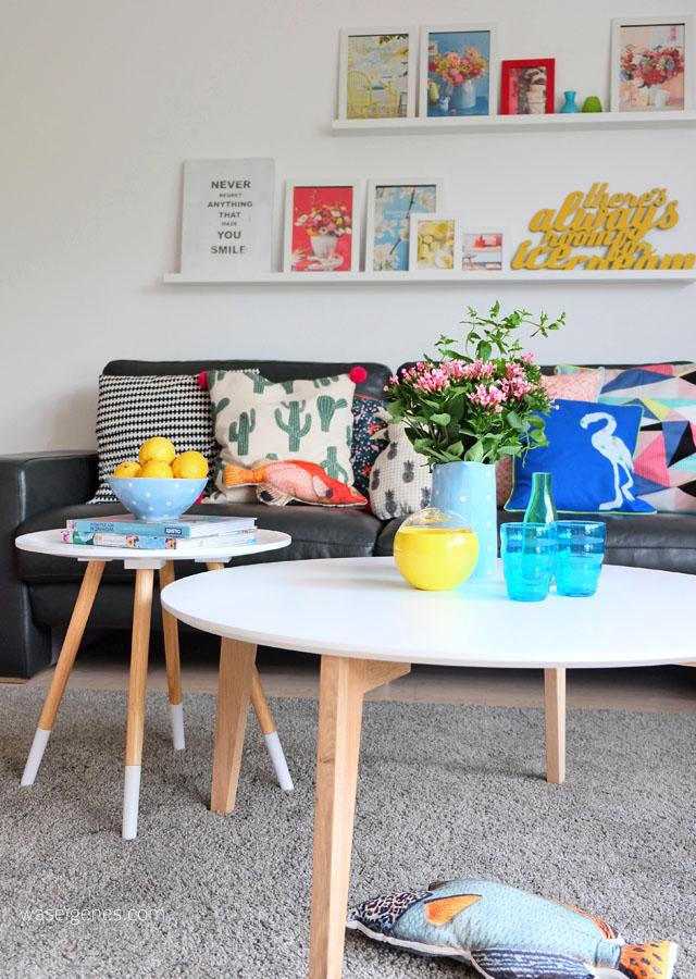 Wohnzimmer makeover | selbst genaehte Kissenbezuege | neue Couchtische | waseigenes.com 8