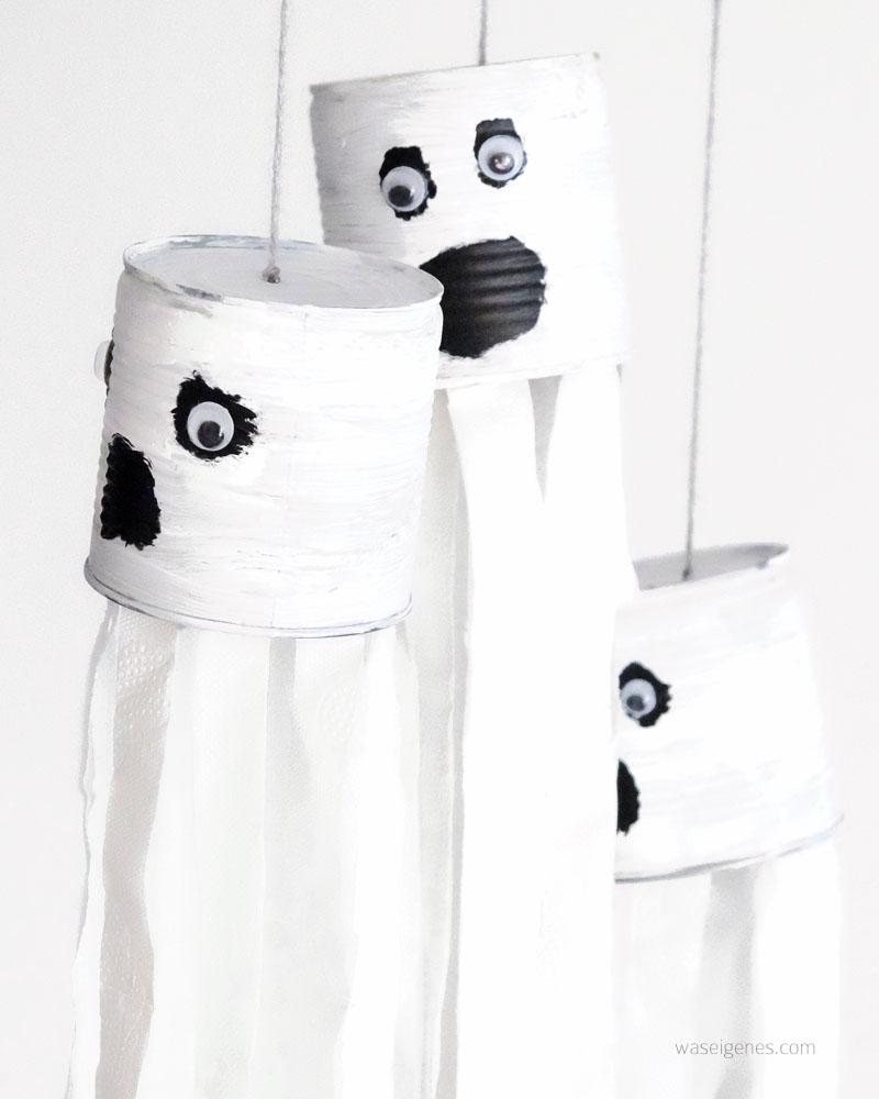 DIY Halloween Deko | DIY Dosengespenster | Basteln mit Kindern | Gespenster aus Dosen und Toilettenpapier | Herbst 2016 | waseigenes.com DIY Blog