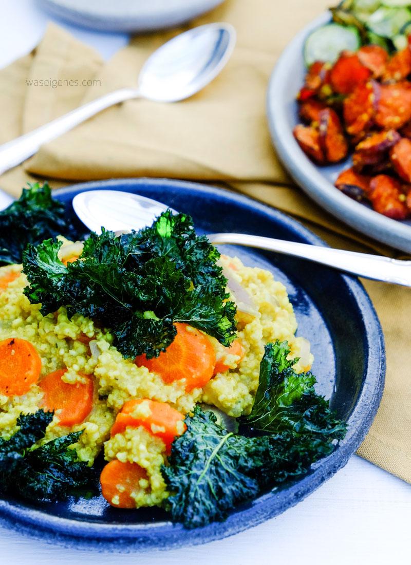 Gemüsechips selber machen | Hirse Möhren Pfanne mit Curry & Grünkohl Chips | waseigenes.com