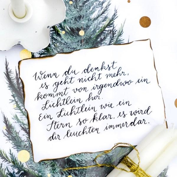 Wenn du denkst es geht nich mehr, kommt von irgendwo ein Lichtlein her | Adventskalender der guten Gedanken & Wünsche 2018 | waseigenes.com