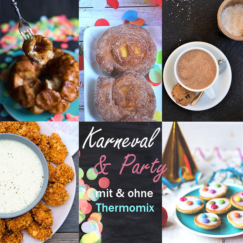 Thermomix Karnevalsbuffet: Monkey Bread, mini Amerikaner, Tortilla Chicken Nuggets, Dulce de Leche Hot Chocolate mit Schuss, Apfelberliner, Rezepte mit und ohne Thermomix