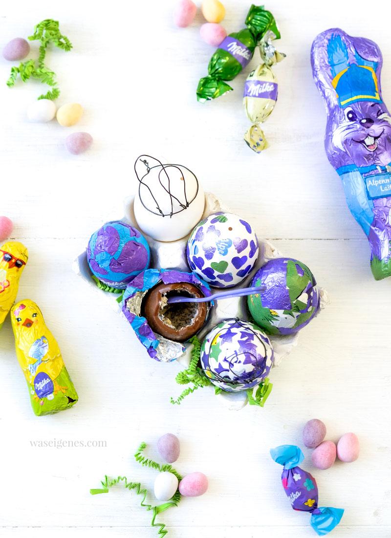 DIY Ostereier mit bunter Alufolie bekleben | Ostereier mit aufgeklebten Sternen & Herzen bekleben | Milka DIY | Hasenohren aus Draht biegen | waseigenes.com