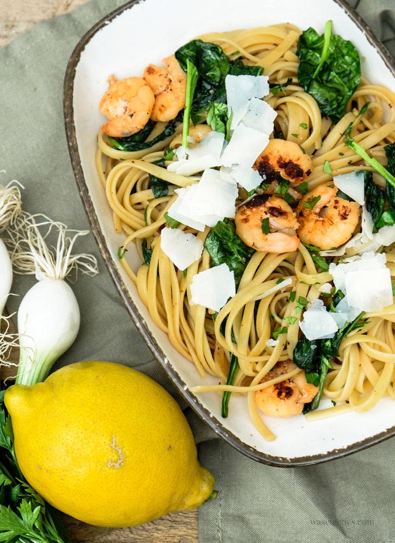 Rezept: Linguine mit Shrimps und Spinat | waseigenes.com