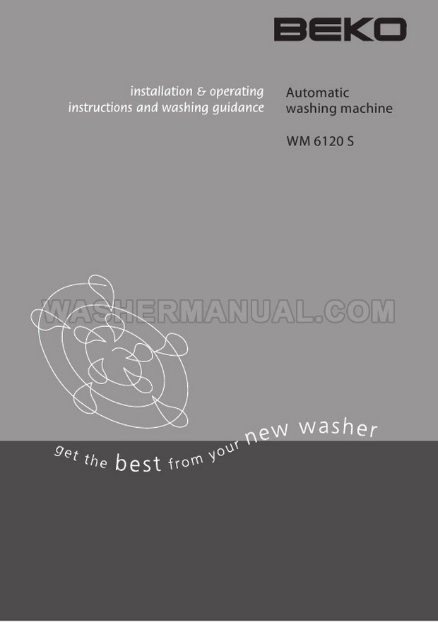Beko WM6120S Washer Installation & Operating Instructions