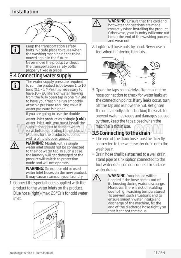 Beko WM84125W Front Load Washing Machine User Manual