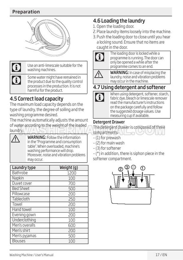 Beko WM84125W Front Load Washing Machine User Manual