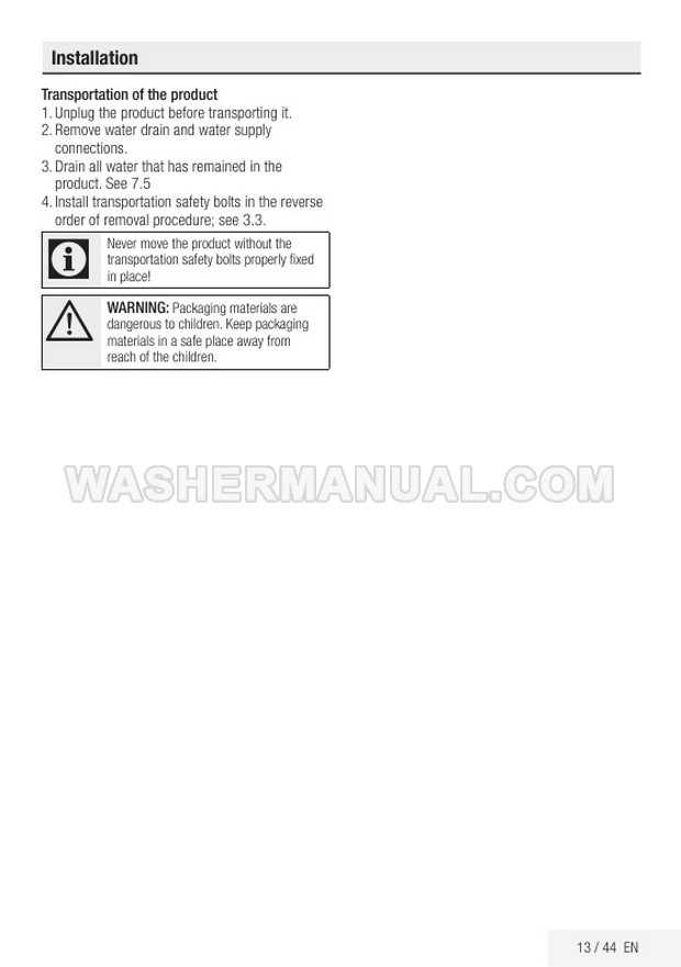 Beko WMB 81445 LW Front Load Washer Installation