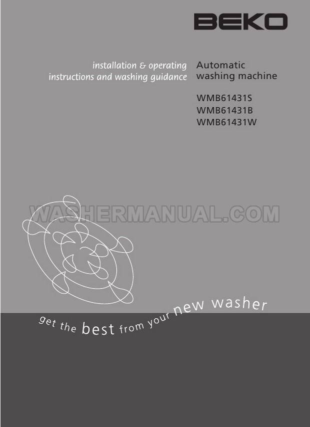 Beko WMB61431S Washing Machine Installation & Operating