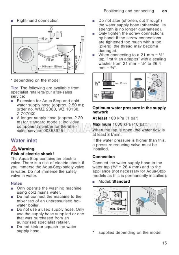 Bosch WAN24108GB Washing Machine Instruction Manual and