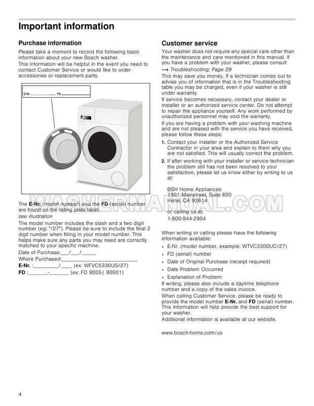 Bosch WAP24200UC Washer Use and Care Manual