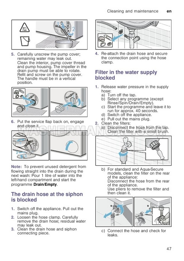 Bosch WAT286H0GB Front Load Washer Instruction Manual and
