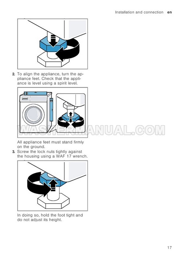 Bosch WAV28MH9GB Front Load Washing Machine Instruction