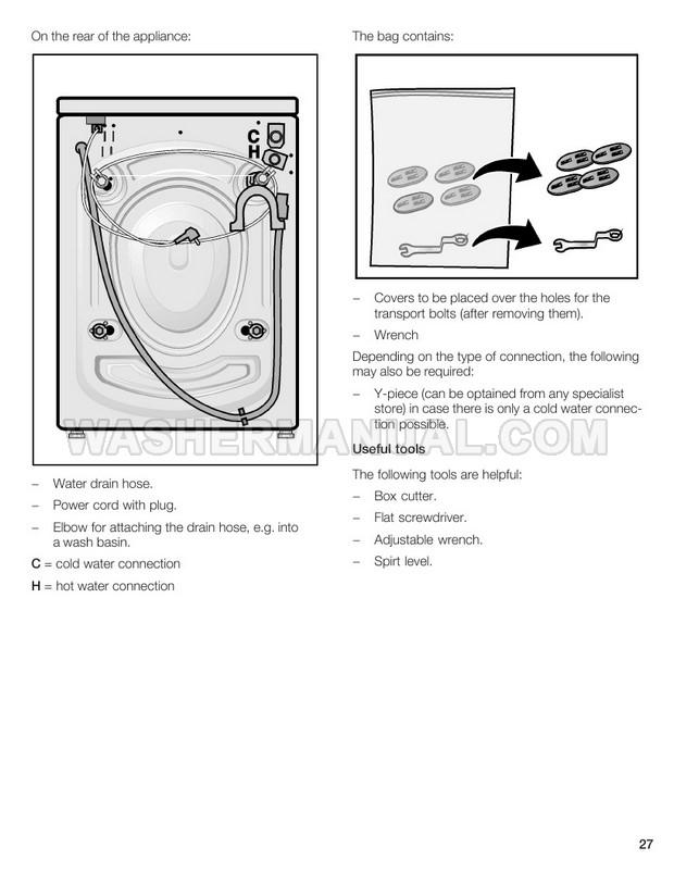 Bosch WFL2090 Washing Machine Operating, Care and