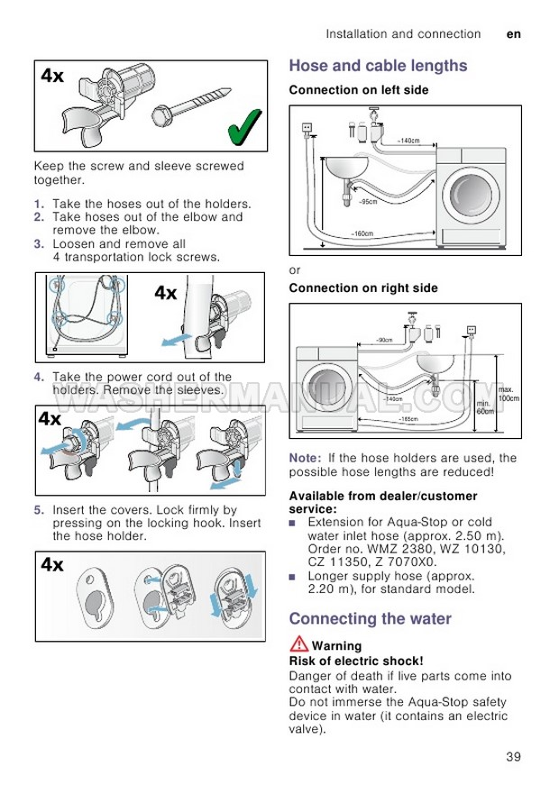 Bosch WVH28490AU Front Load Washing Machine Instruction