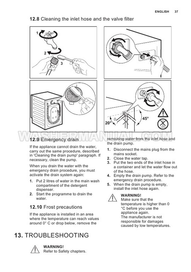 Electrolux E774F402BI Front Load Washer User Manual