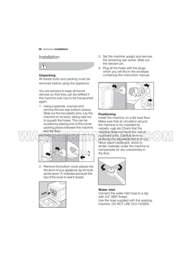 Electrolux EWF1074 Washer User Manual