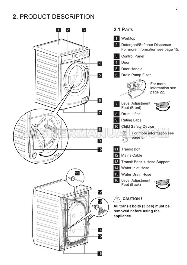 Electrolux EWF12853 Front Load Washing Machine User Manual