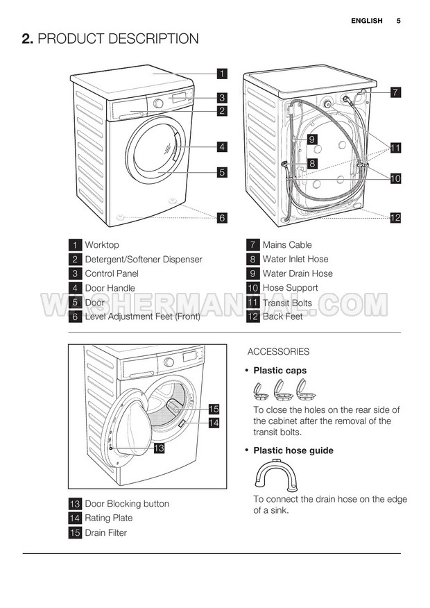 Electrolux EWP85752 Front Load Washer User Manual