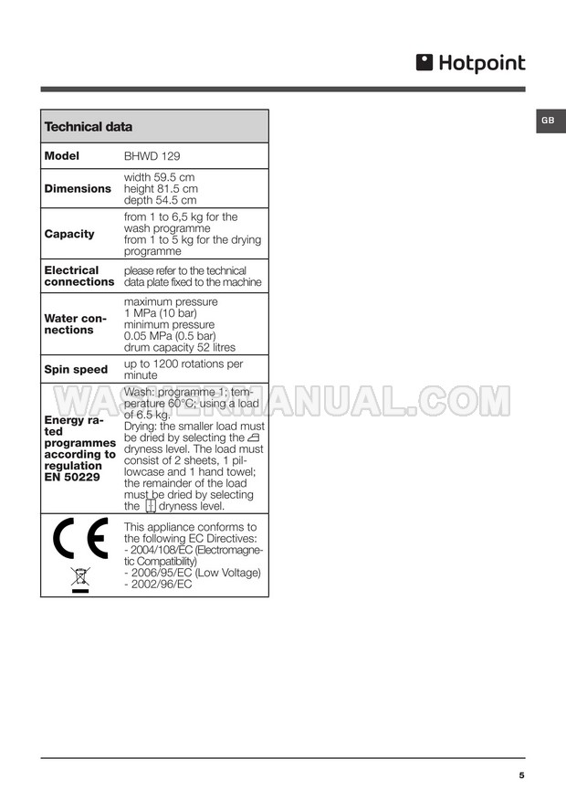 Hotpoint BHWD 129 Washing Machine Instructions for Use