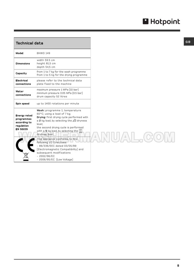 Hotpoint BHWD 149 Washing Machine Instructions for Use