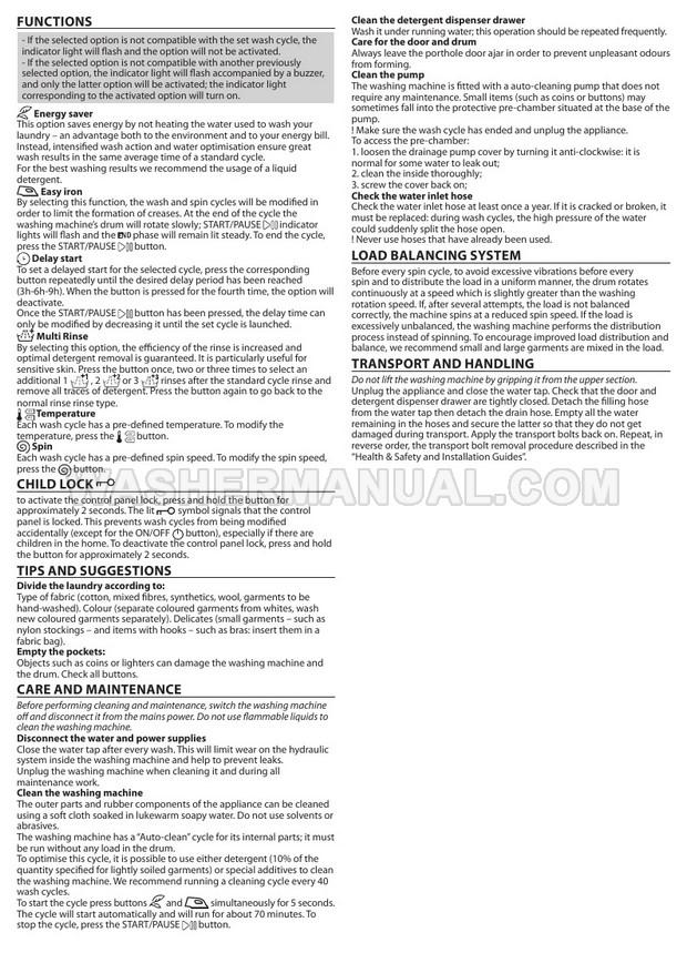 Hotpoint BI WMHL 71453 Washing Machine Quick Guide