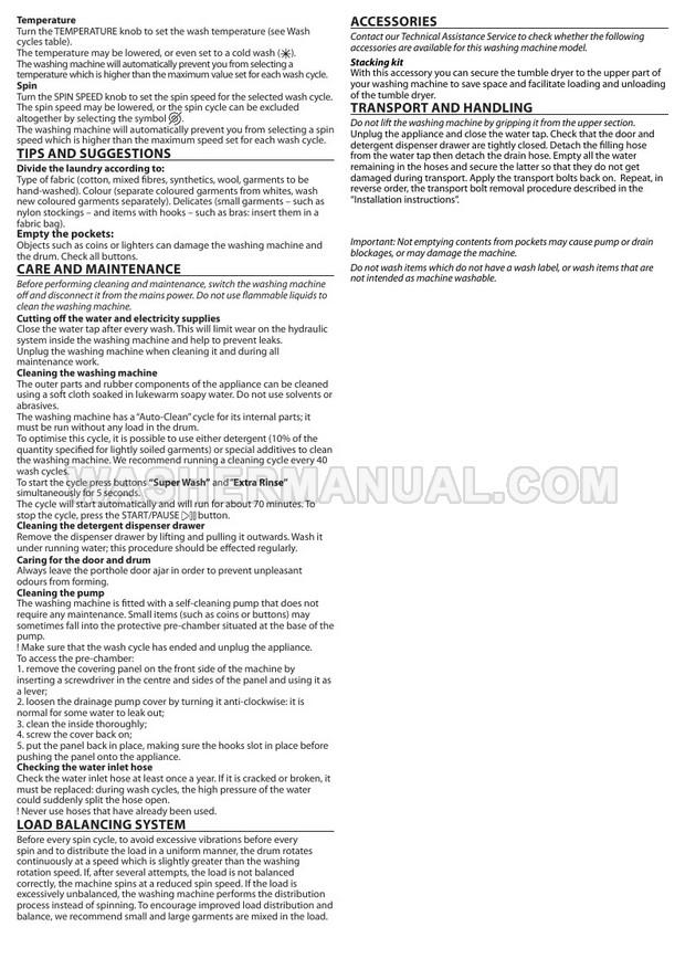 Hotpoint FML 842 K Washing Machine Quick Guide