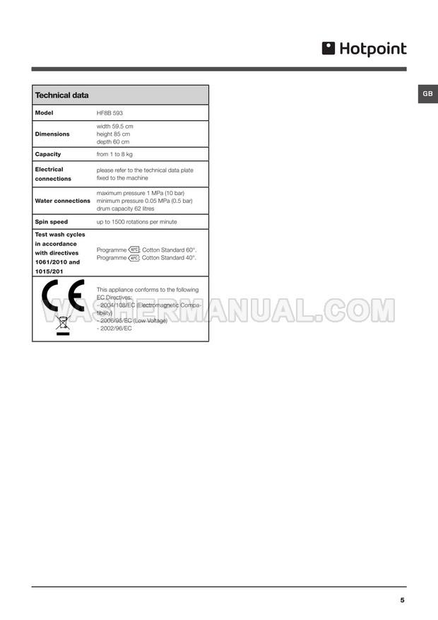 Hotpoint HF8B 593 Front Load Washing Machine Instructions
