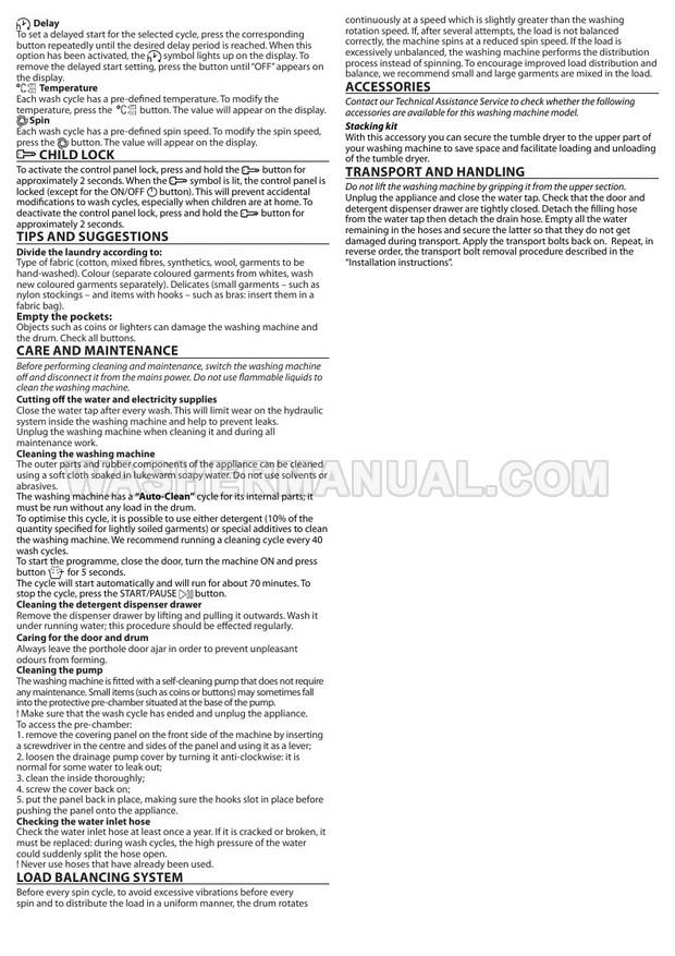 Hotpoint NSWA 843C WW Washing Machine Quick Guide