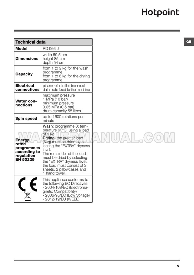 Hotpoint RD 966 JD Washer Dryer Instructions for Use
