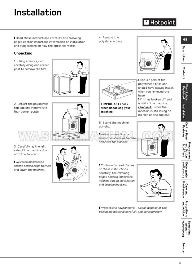 Hotpoint WD440 Washer Instructions for Installation and Use