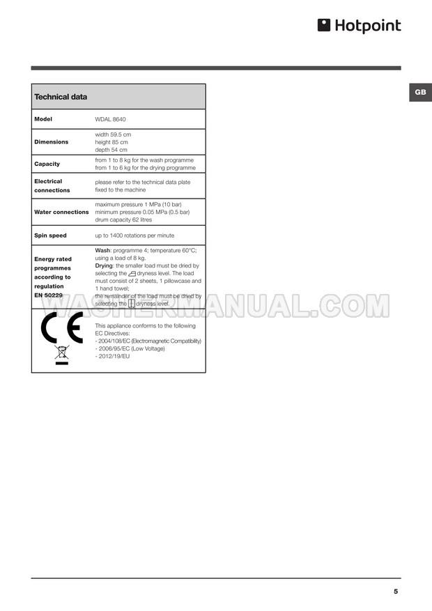 Hotpoint WDAL 8640 Washing Machine Instructions for Use