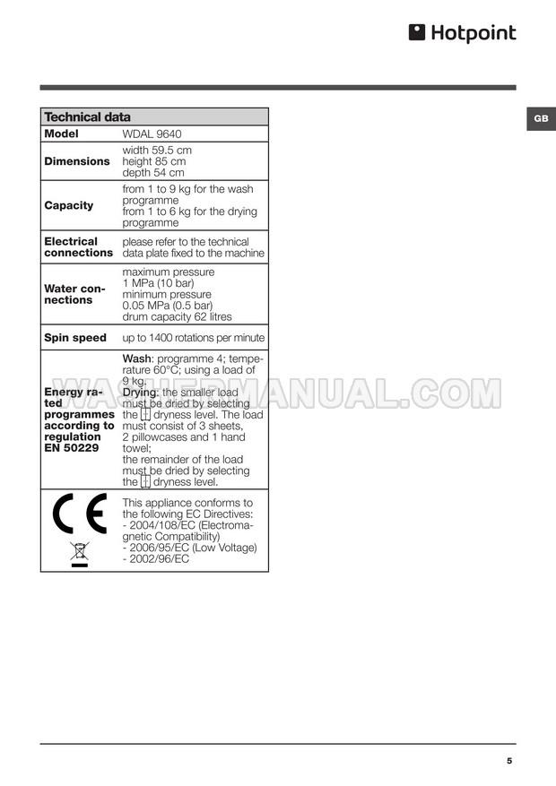 Hotpoint WDAL 9640 Washing Machine Instructions for Use