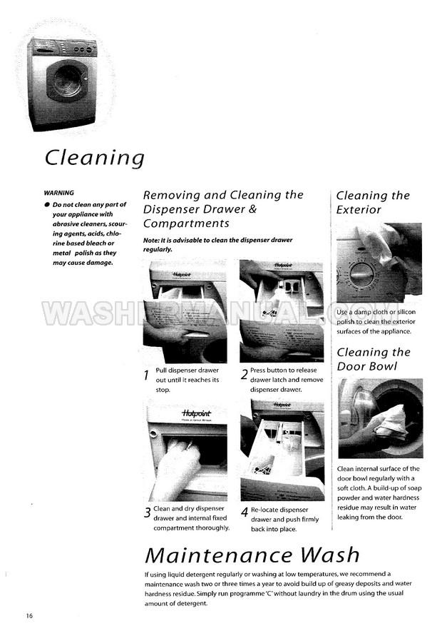 Hotpoint WM63 Aquarius Washing Machine Instruction Manual