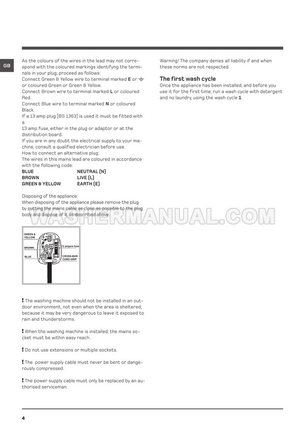 Hotpoint WMF 720 Aquarius Washing Machine Instructions for Use