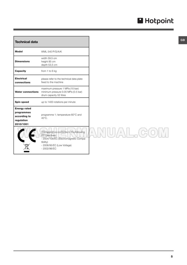 Hotpoint WML 540 Washer Instructions for Use