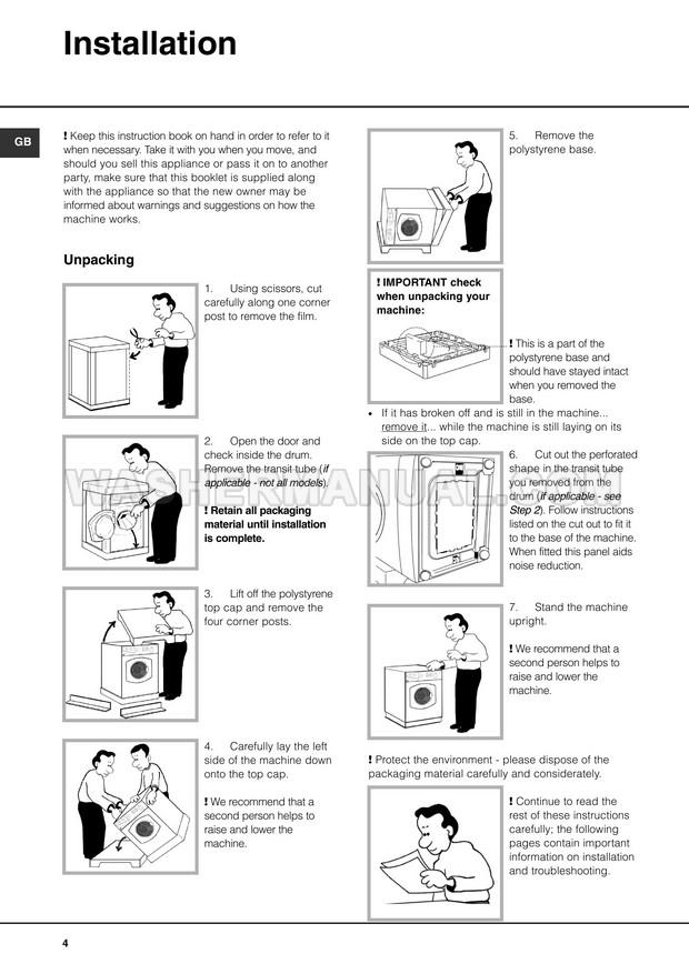 Hotpoint WT540 Aquarius Washing Machine Installation and
