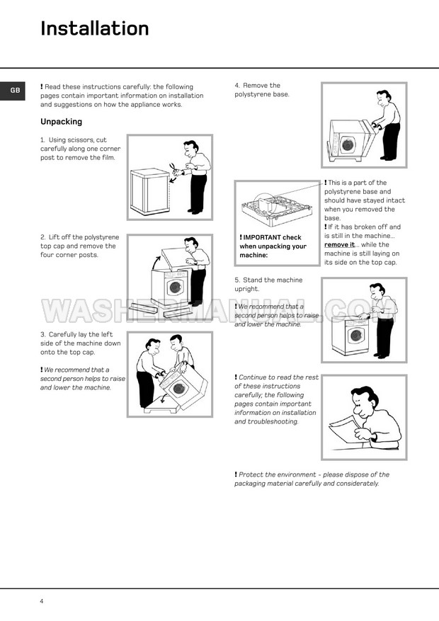 Hotpoint WT540 Front Load Washer Instructions for