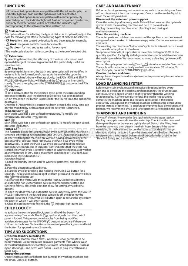Indesit BI WMIL 71252 Washing Machine User Manual